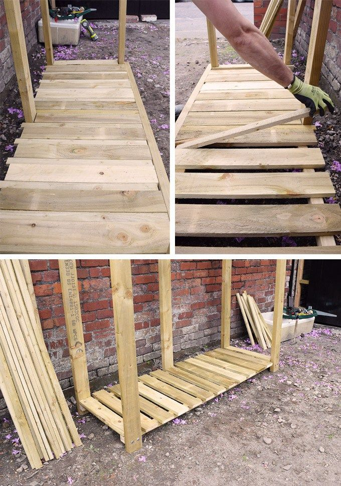 How To Build A Log Store Diy Log Store Log Store Firewood Storage Outdoor