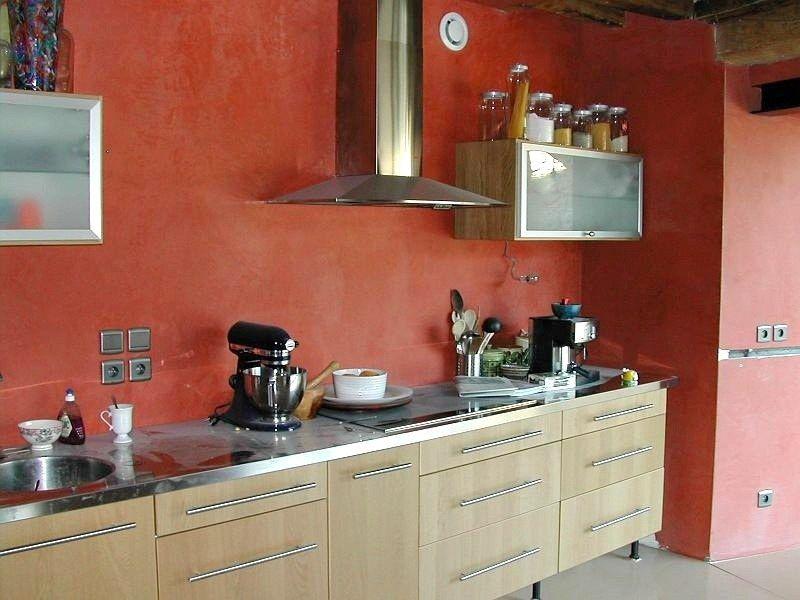 Mur de Cuisine Béton Ciré Rouge cuisine Pinterest Aix en