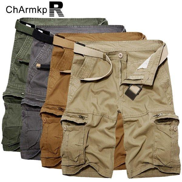 e934c1752632e ChArmkpR Men Plus Size Military Loose Big Pockets Multicolor Cargo Shorts