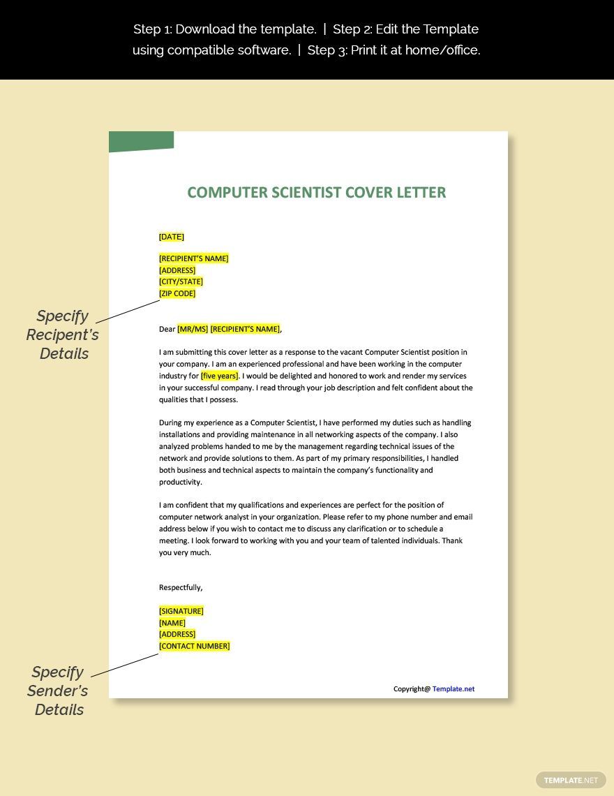 Computer scientist cover letter template free pdf word