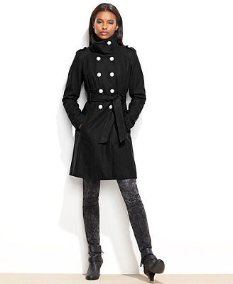 GUESS Funnel-Collar Belted Military Coat | Christmas | Pinterest ...