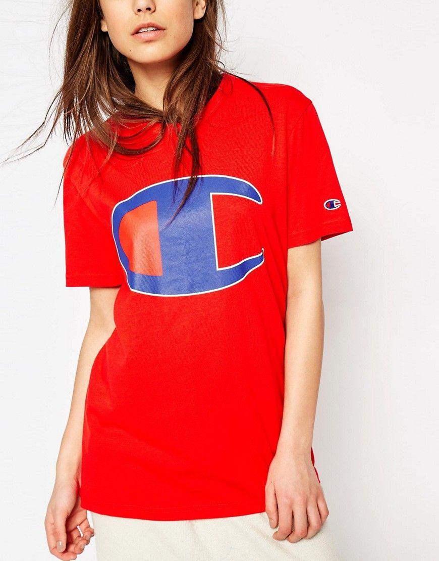 c84aa422 Champion+Oversized+Boyfriend+T-Shirt+With+Retro+Oversized+Logo ...