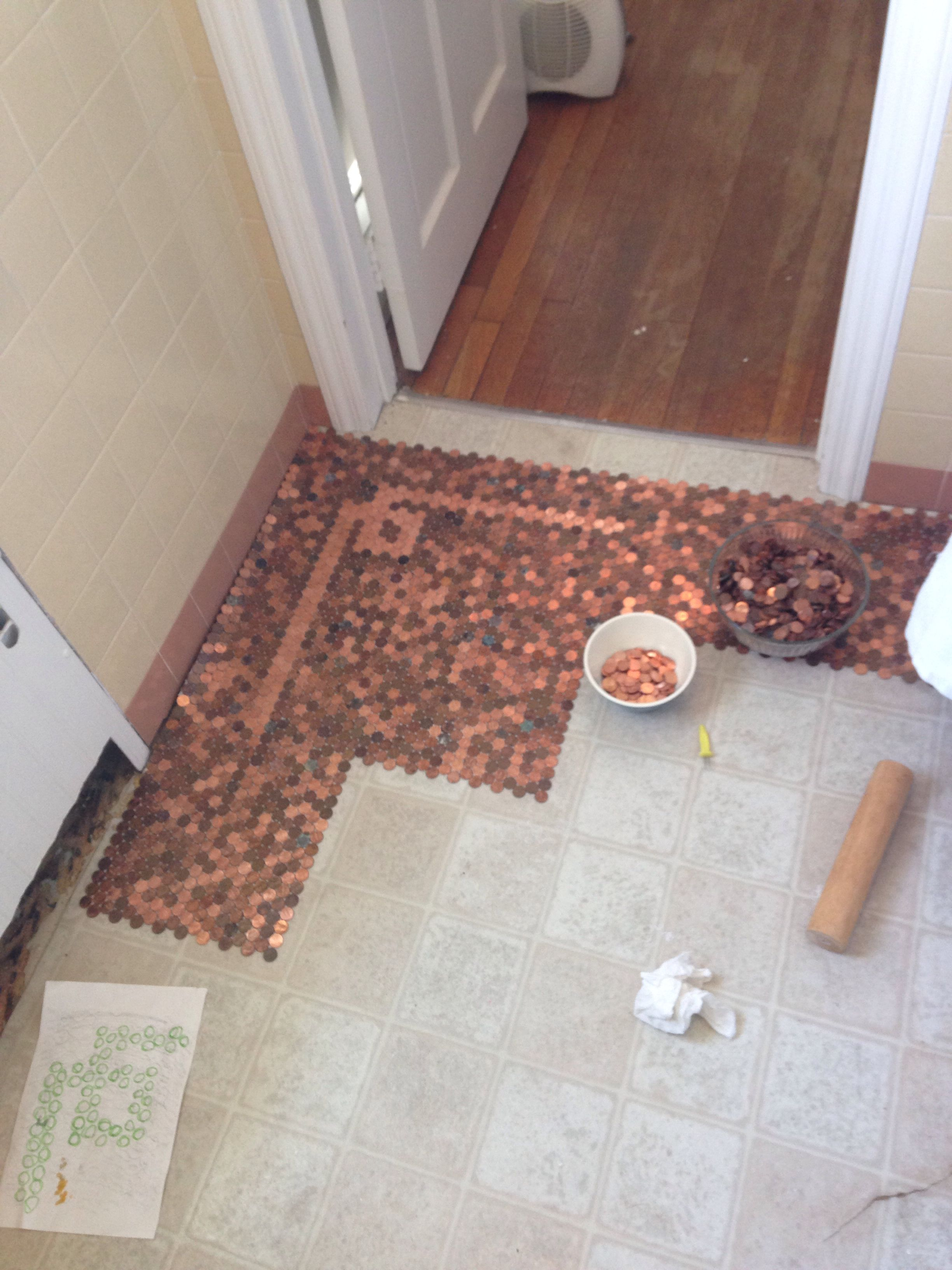 Lay out the penny tiles and line the up well use that - Penny tile bathroom floor ...