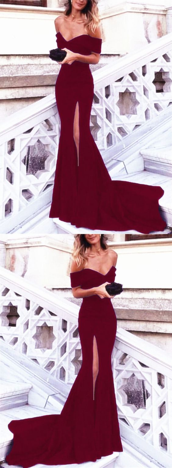 Off shoulder mermaid evening dresses long with sexy slit