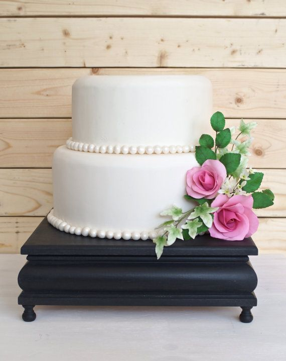 14 Inch Black Cake Stand Square By Ritamarieweddings