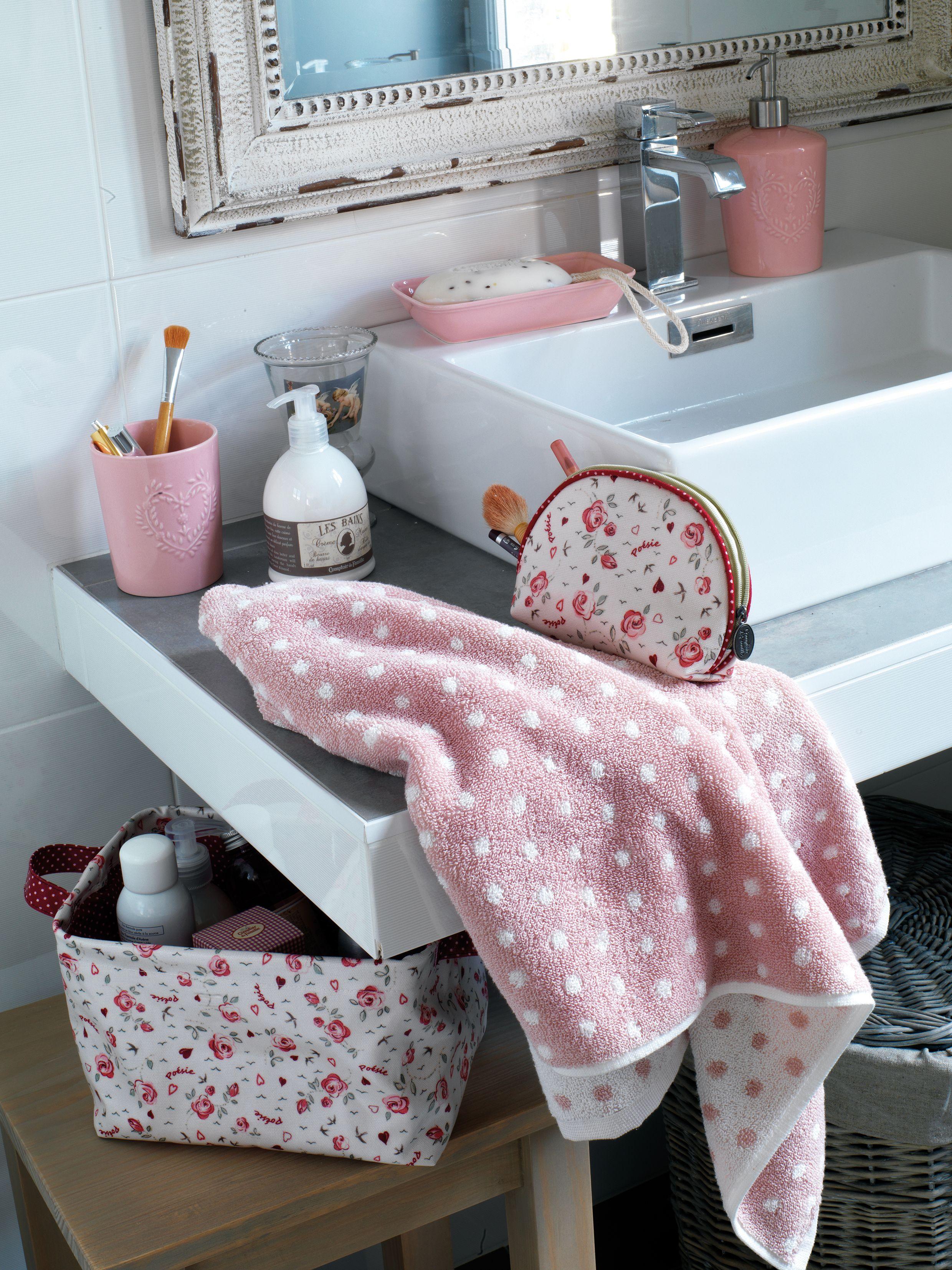 Eponge confettis ivoire et rose avec corbeille et pochette linette et accessoires de salle de - Accessoire de salle de bain rose mauve ...