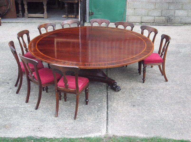 Dining Room Table Size For 10 Alluring Huge Round Georgian Table  7Ft Diameter Round Regency Revival 2018