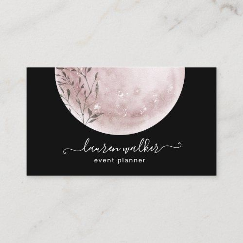 Blush Pink Full Moon Elegant Business Card Zazzle Com Elegant Business Cards Sophisticated Business Card Gold Business Card