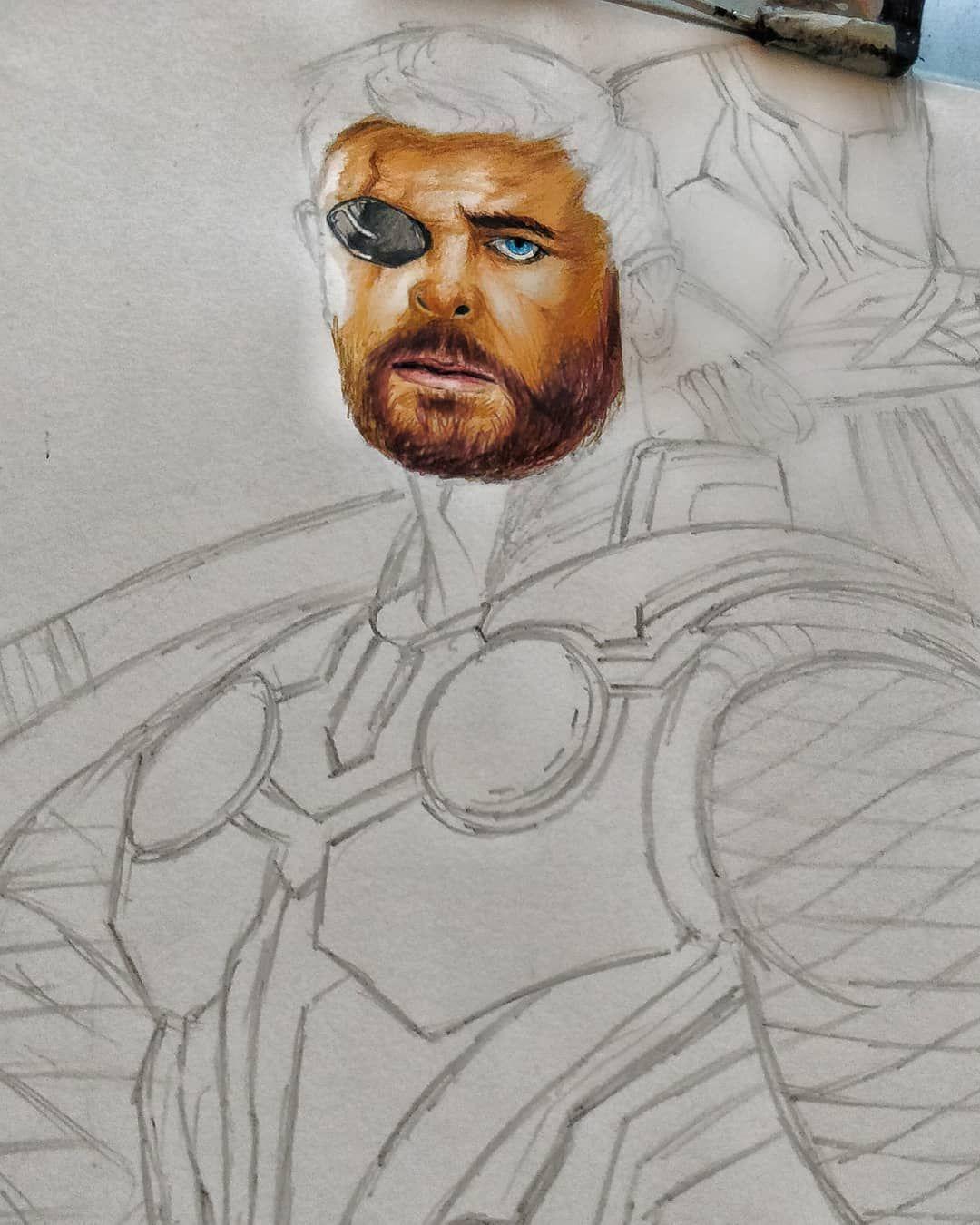 Thor With Stormbreaker Progress Part 1 Art Illustration Drawing Picture Artist Sketch Sketchbook Paper Pen Pencil Insta Drawings Comic Art Art Day