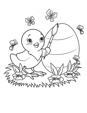 Ausmalbild Osterkuken Bemalt Ein Ei Easter Colouring Easter Coloring Pages Bunny Coloring Pages