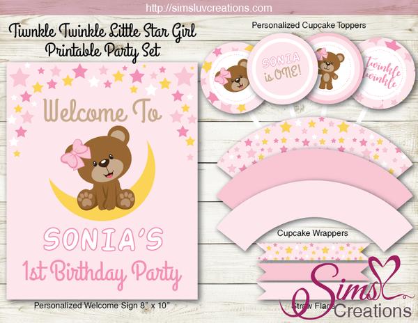 Twinkle Twinkle Little Star Party Decoration Supplies Teddy Bear Party Printables Teddy Bear Party First Birthday Party Supplies Bear Party
