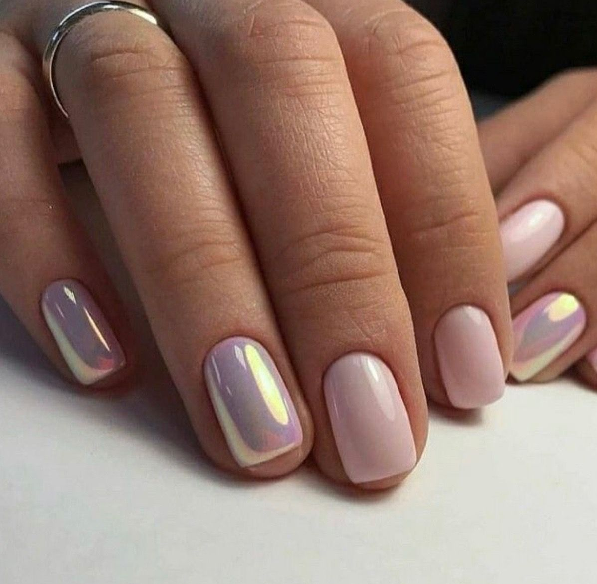 Short Square Soft Bubble Gum Pink Natural Nails With Two Rose Gold Chrome Accent Nails Gold Nail Designs Rose Gold Nails Design Pink Nails