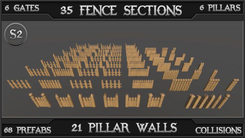 Wooden Fences V12 (Spearhead) #Fences#Wooden#Exterior#Props