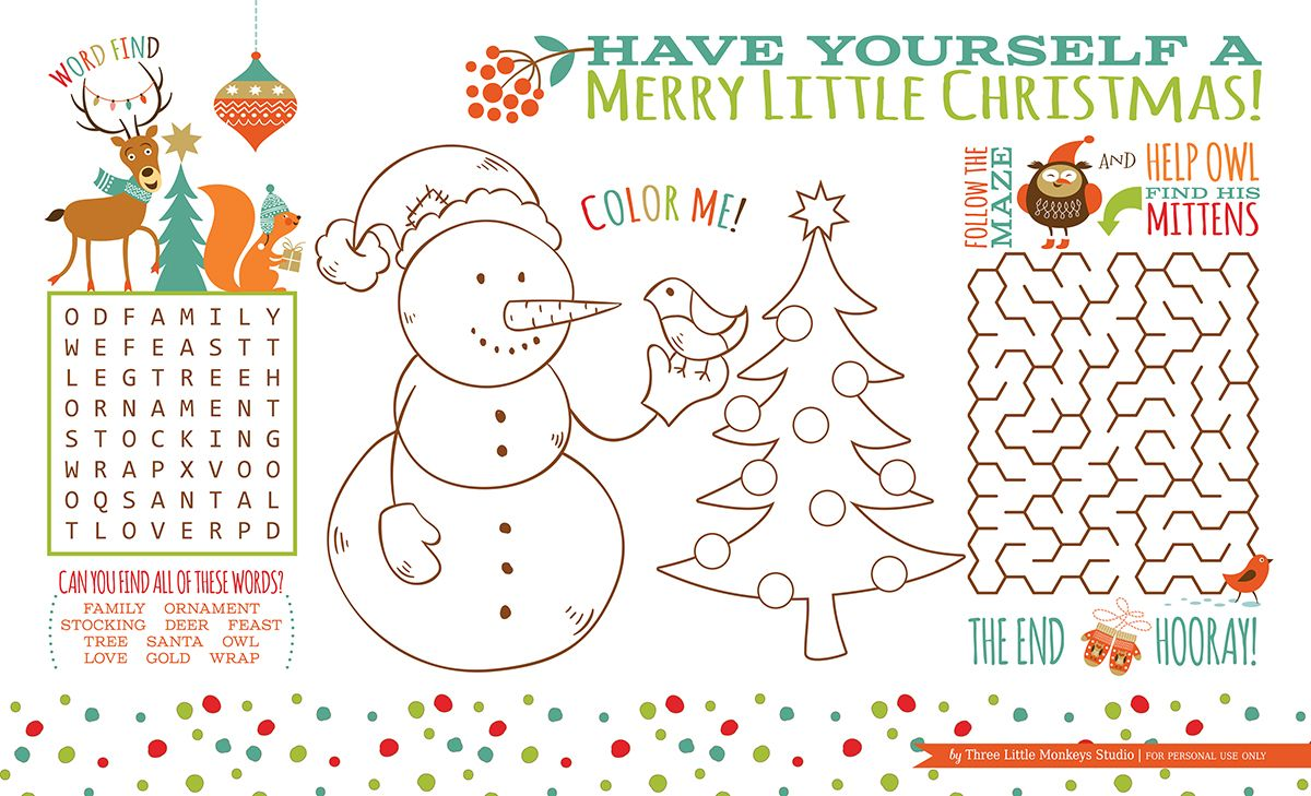 christmas activity placemat free printable three. Black Bedroom Furniture Sets. Home Design Ideas