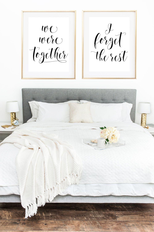 We Were Together I Forget The Rest Print Set  Above bed decor