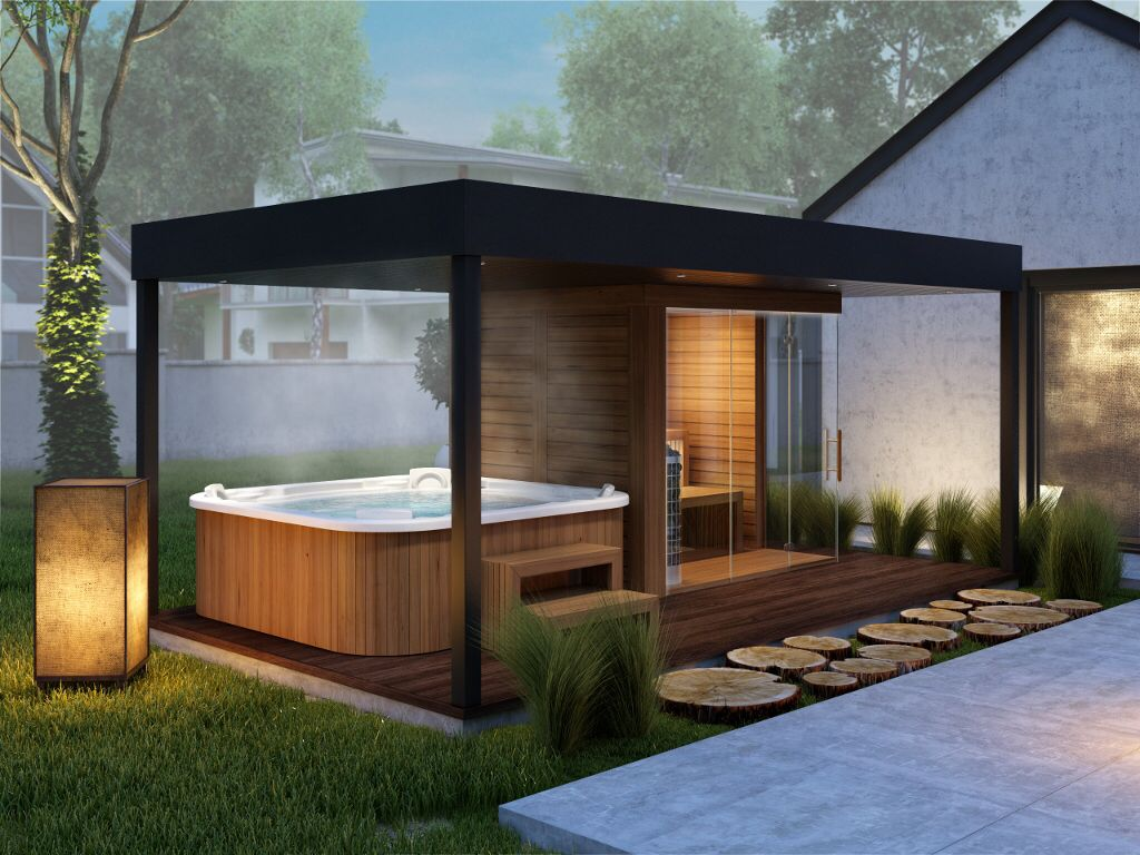 Garden Sauna Produced by Simon Wellness Modern ipari