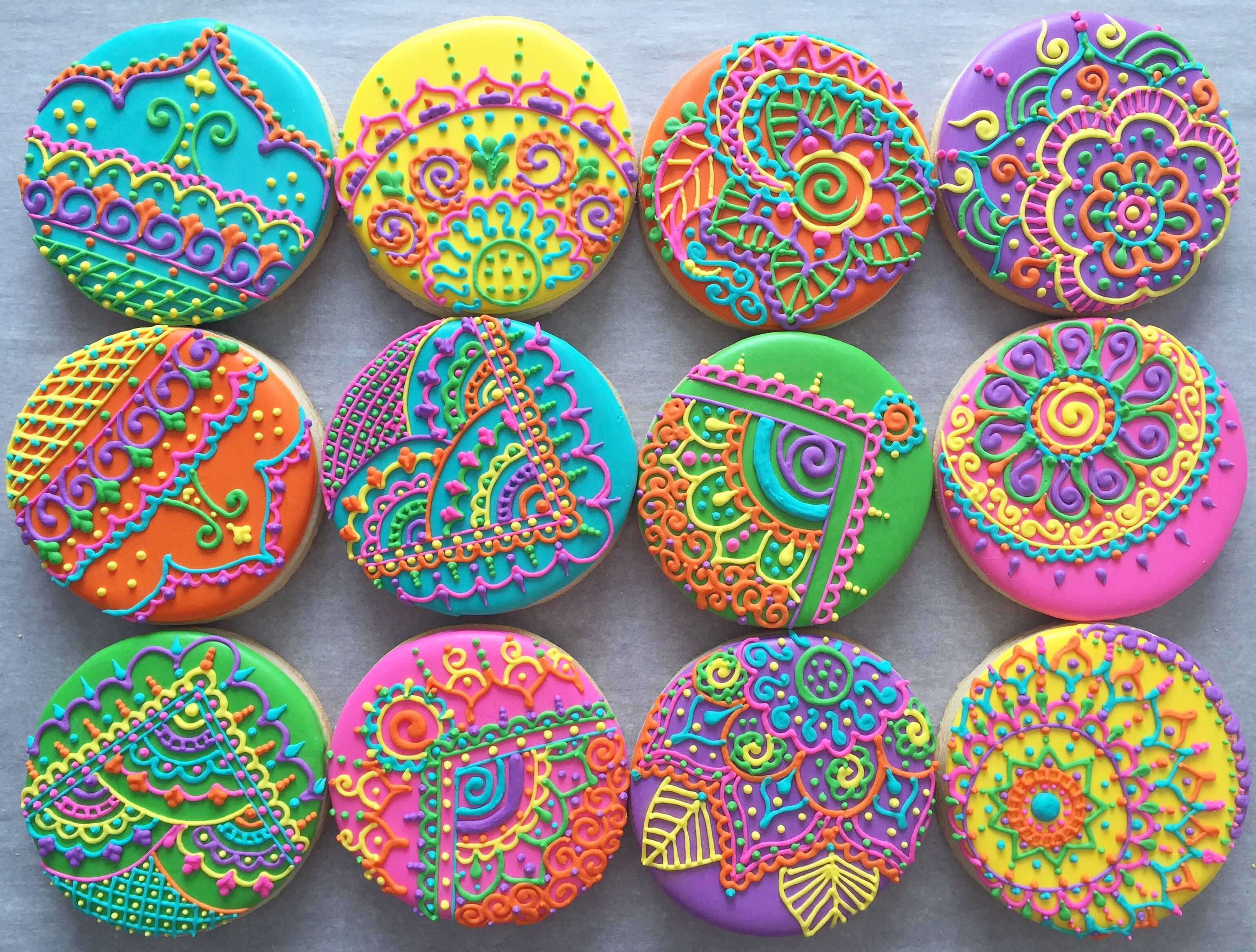 Colourful Mehndi Henna Sugar Cookies by Cookie Starts with C