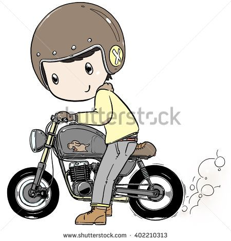 Cute Cartoon Boy Ride Motorcycle Burning Tire