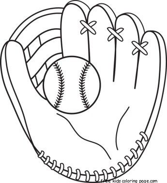 Printable Baseball Bat And Glove Coloring Pages Baseball