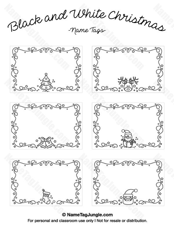 Free Printable Black And White Christmas Name Tags The Template