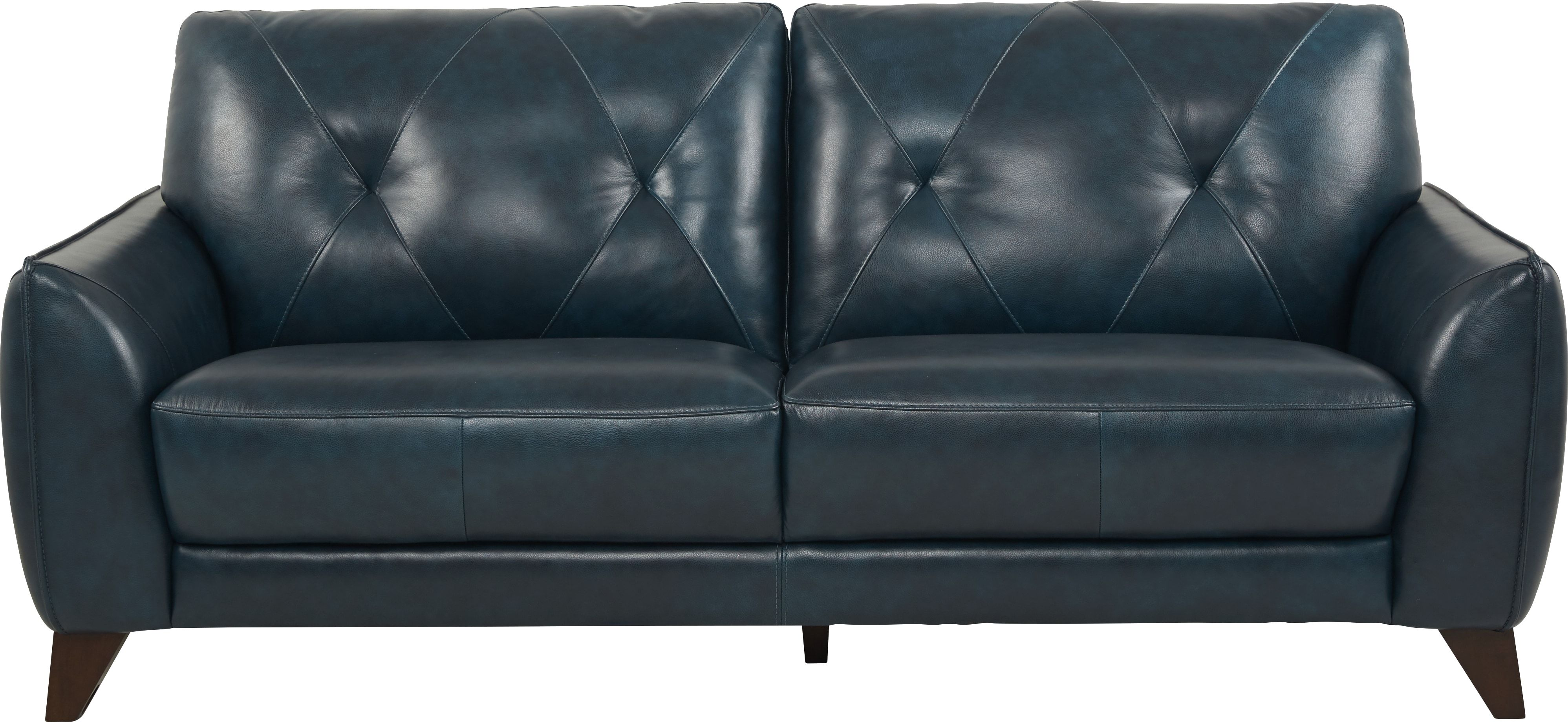 Salviano Blue Leather Sofa in 2019 | Blue leather sofa, Best ...