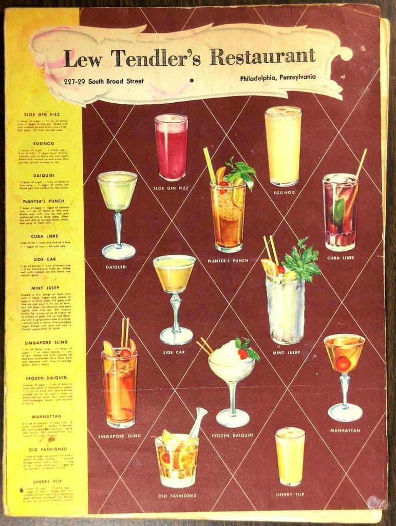 1950's Menu LEW TENDLER'S Restaurant Philadelphia