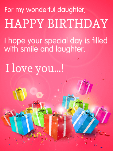 For My Wonderful Daughter Happy Birthday Wishes Card Birthday By