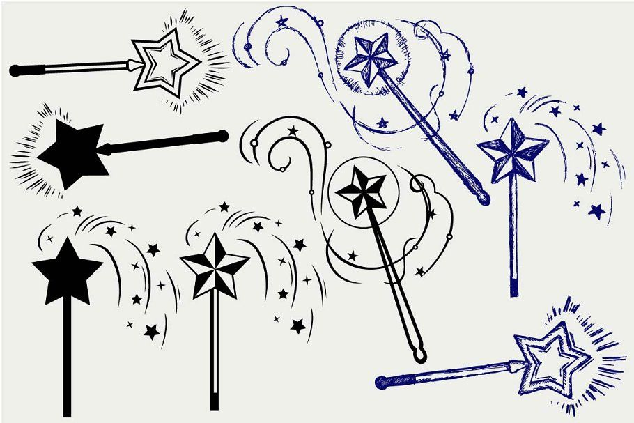 Magic Wand Svg Spon Doodle Silhouettes Set Style Ad Wands Creative Icon Wand Tattoo