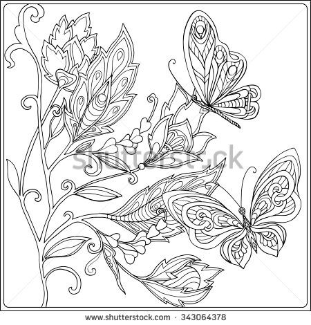coloring book for adult and older children. coloring page with ... - Coloring Page Butterfly Flower