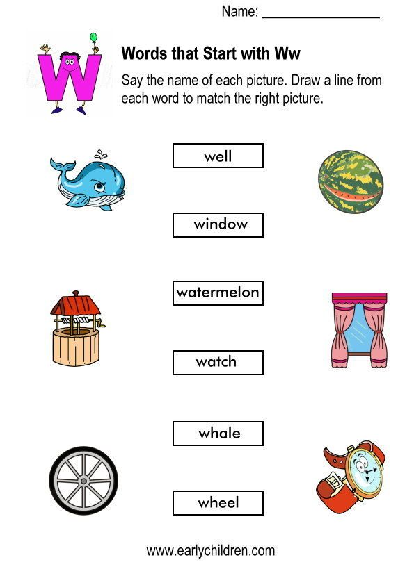 Matching Pictures To Words Started With W Kindergarten