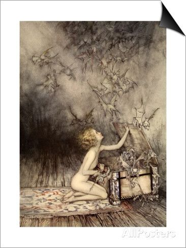A Sudden Swarm of Winged Creatures Brushed Past Her Prints by Arthur Rackham at AllPosters.com