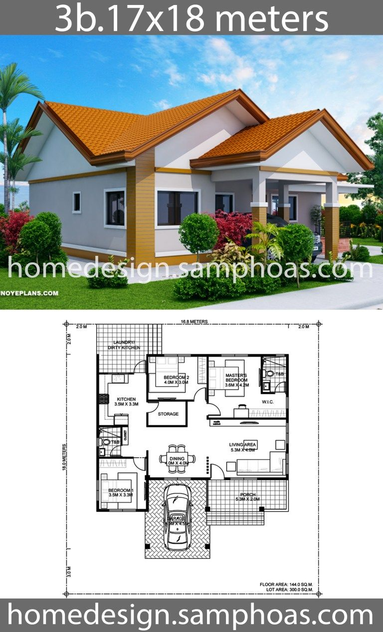 House Design Plans 17x18m With 3 Bedrooms Home Ideas Beautiful House Plans House Construction Plan Bungalow House Design