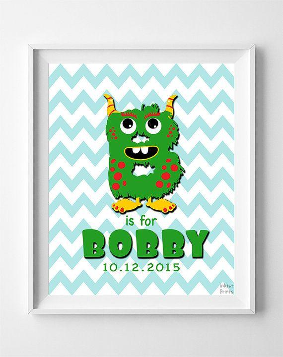 Bobby Print Alphabet Print Initials Custom Initial by InkistPrints
