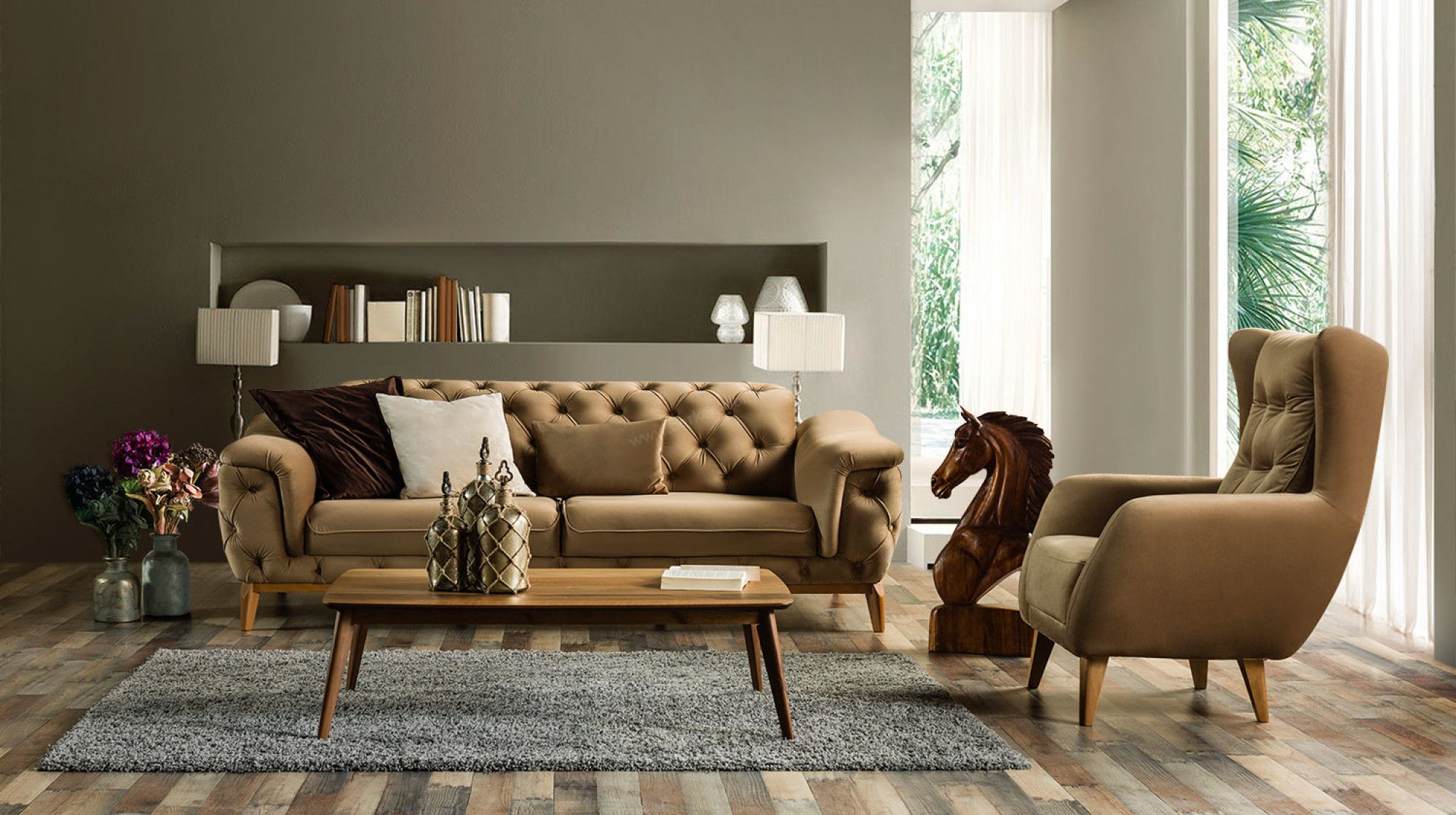 Thalia Koltuk Takimi Two Sofa Furniture Sofa Set Furniture
