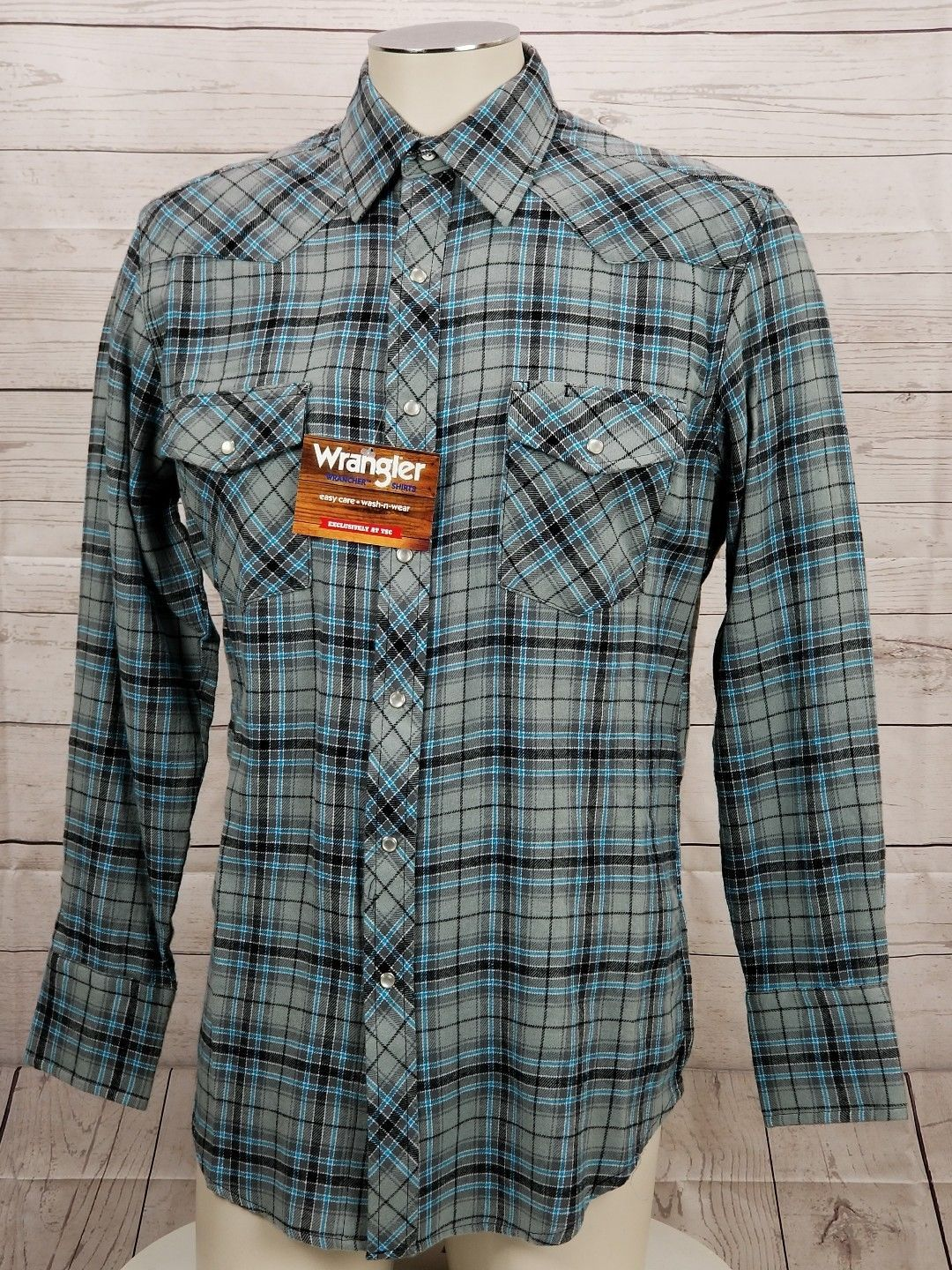 8240dfb1 Wrangler Wrancher Mens Size Medium Plaid Flannel Pearl Snap Western Shirt  NEW f