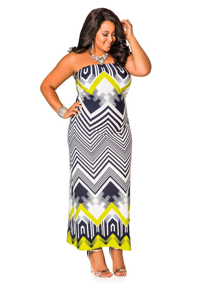 Bold Chevron Print Tube Top Maxi Dress Plus Size Dresses Ashley Stewart Top Maxi Dresses Plus Size Dresses Plus Size Fashion [ 1115 x 800 Pixel ]