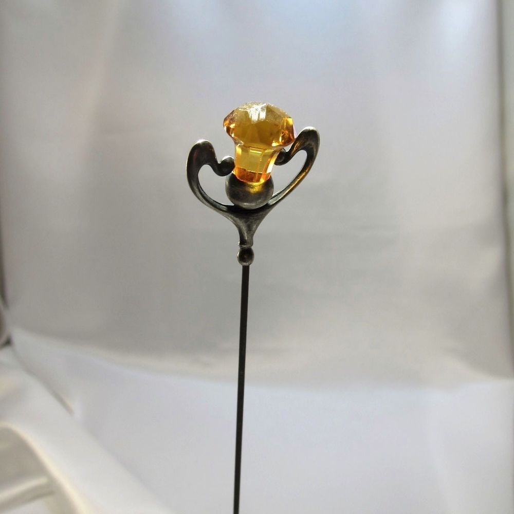 Antique Sterling and Thistle Shaped Amber Glass Hatpin Hat Pin, NR C-1910
