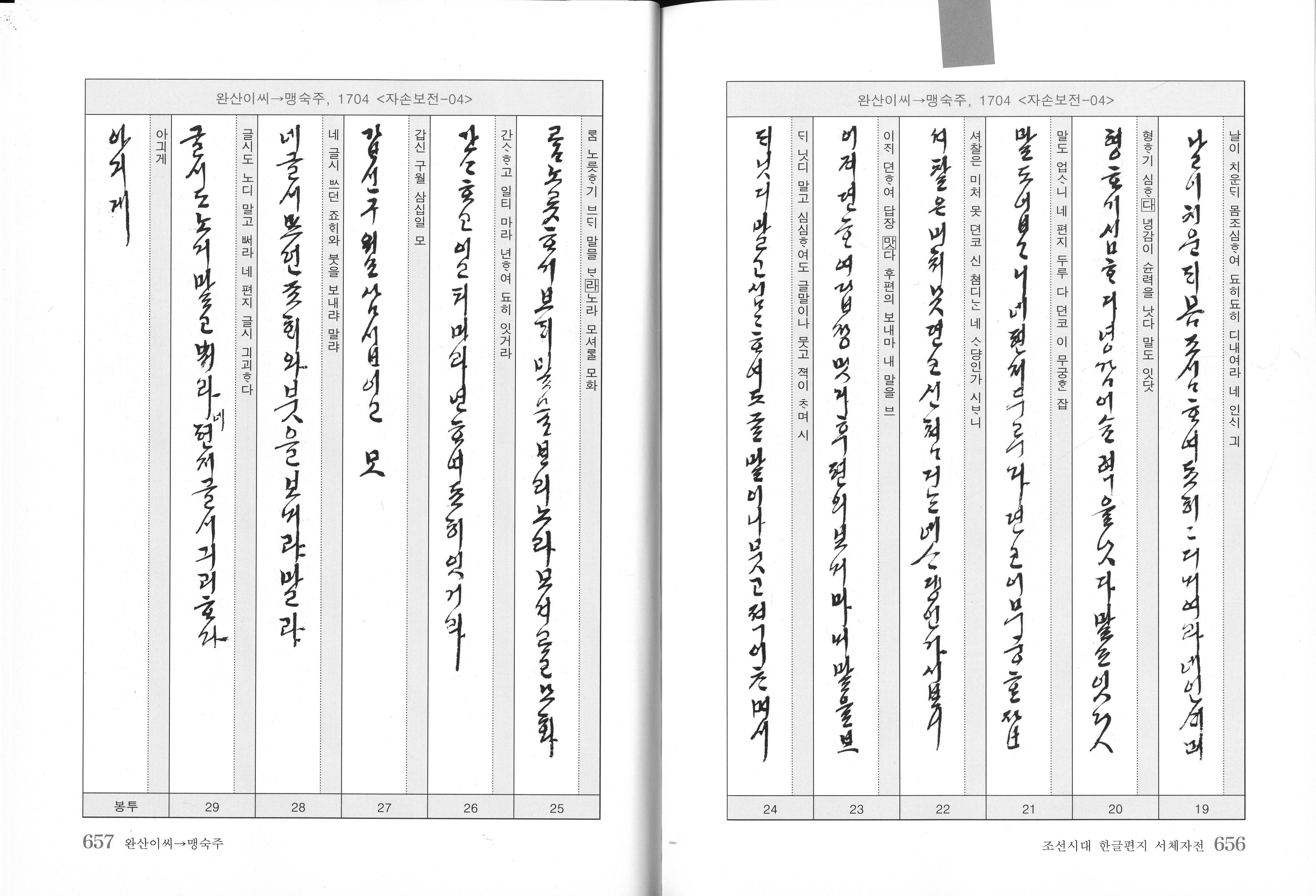 t116B r1 정희윤 06/완산이씨/조선시대한글편지서체사전-다운샘
