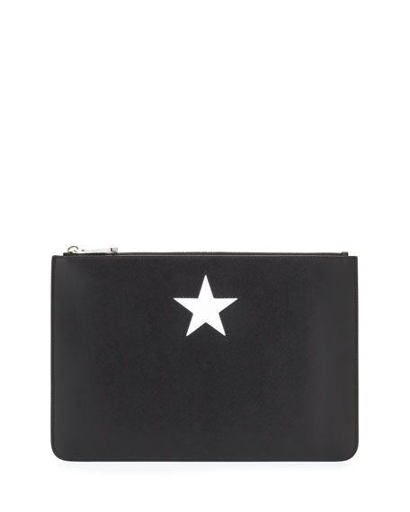 7cdc57e8d02 GIVENCHY Iconic Smooth Leather Star Clutch Bag, Black/White. #givenchy #bags  #leather #clutch #lining #cotton #hand bags #