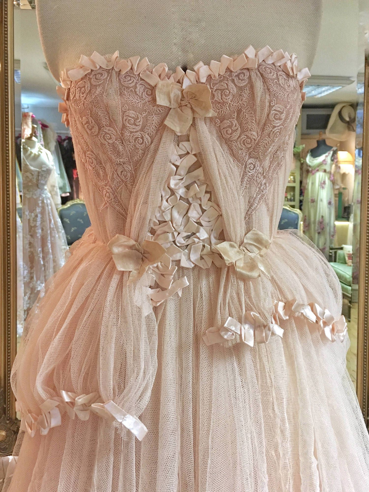 Blush tulle and lace wedding dress with detachable sleeves wedding