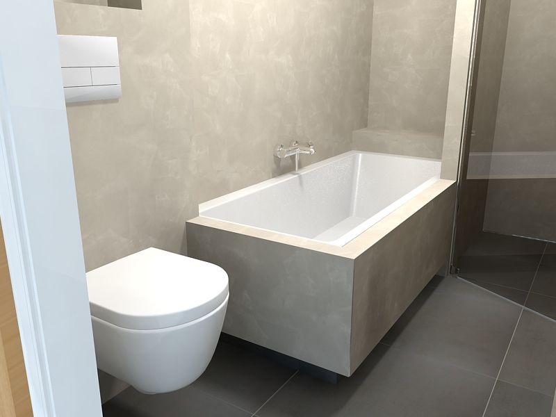 Beton ciré de eerste kamer overzicht toilet en ligbad badkamer