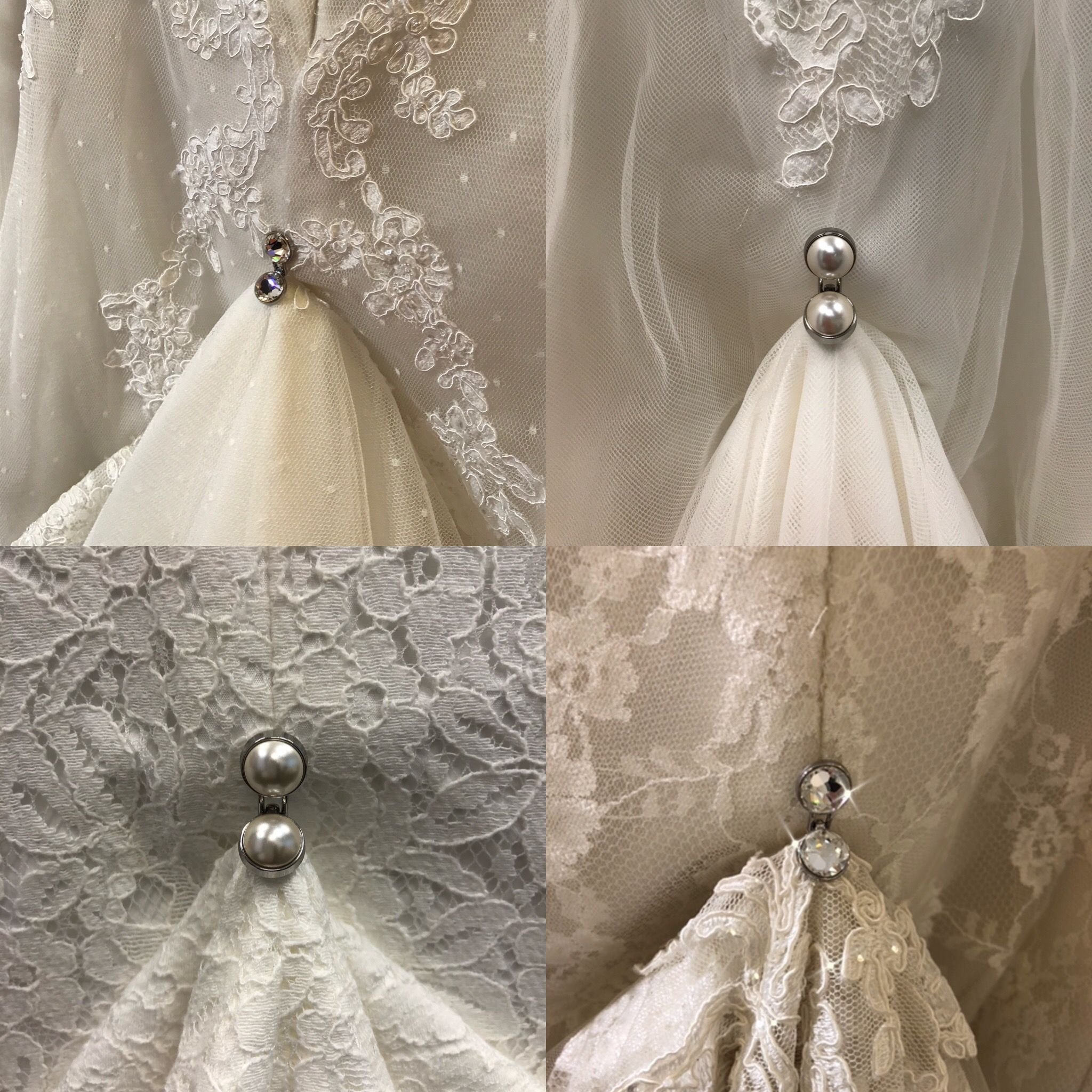 Both Our Swarovski Crystal And Swarovski Pearl Trainloops Look Great On Lace If You Have Wedding Dress Train Bustle Making A Wedding Dress Wedding Gown Bustle