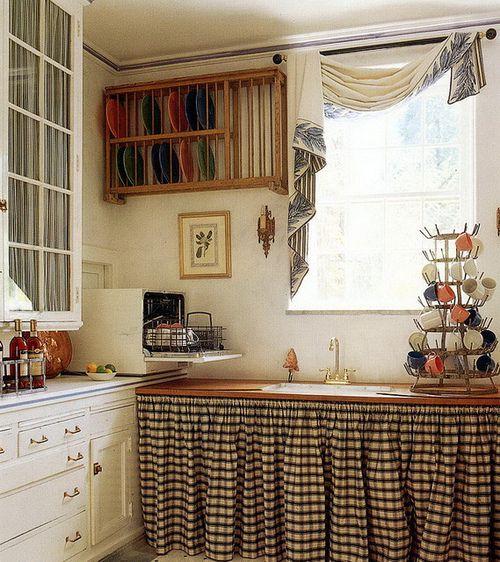 Bajo mesada cortina cuadrille cortinas de tela - Cortinas cocina rustica ...