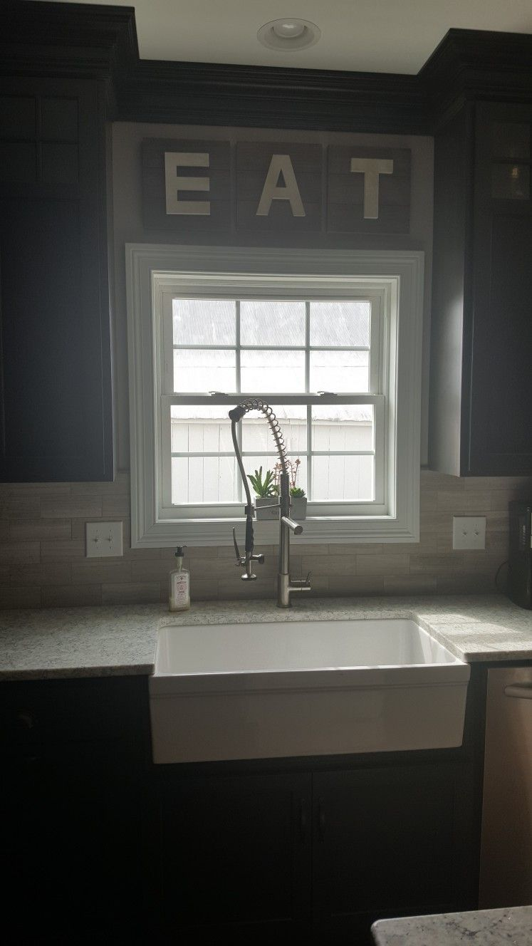 Farmhouse kitchen, farmhouse sink, industrial faucet, succulent ...