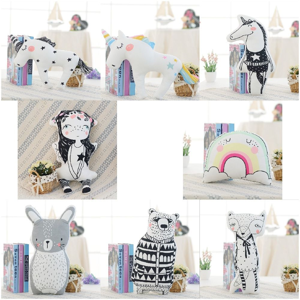 Cartoon Animals Unicorn Bear Rabbit Fox Rainbow Girl Cushion Pillow Kids Bed Room Decor Calm Sleep Dolls Nordic Photo Props-in Stuffed & Plush Animals from Toys & Hobbies on Aliexpress.com | Alibaba Group #bearbedpillowdolls