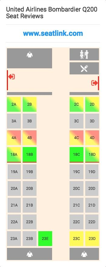 United Airlines Bombardier Q200 Dh2 Seat Map Airline Seating