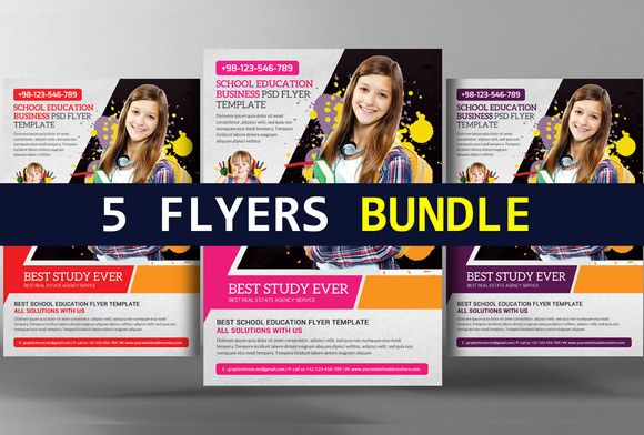 Junior School Education Flyer Bundle @creativework247 Flyer