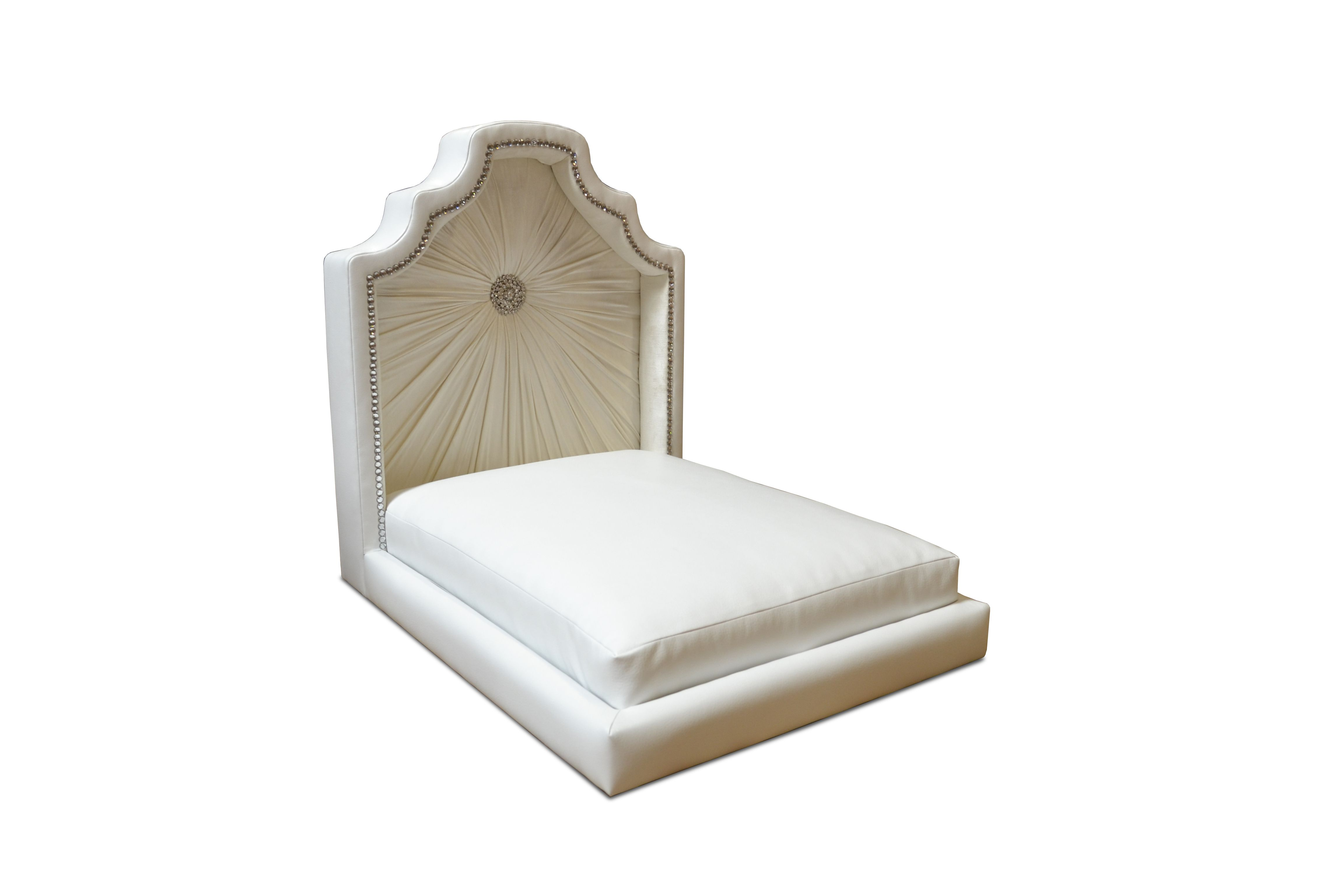 Regency Dog Bed Hooded dogie bed with brooch in white