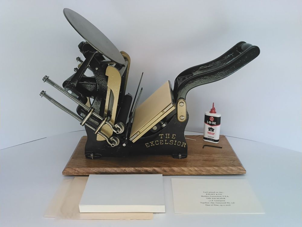 Kelsey Excelsior 5x8 Letterpress Printing Press reconditioned