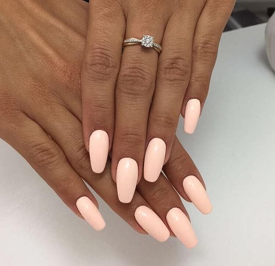 Are you looking for peach acrylic nails design? See our collection full of  peach acrylic nails designs and get inspired! - 73 Peach Coral Coffin Almond Stiletto Acrylic Nail Design For Short